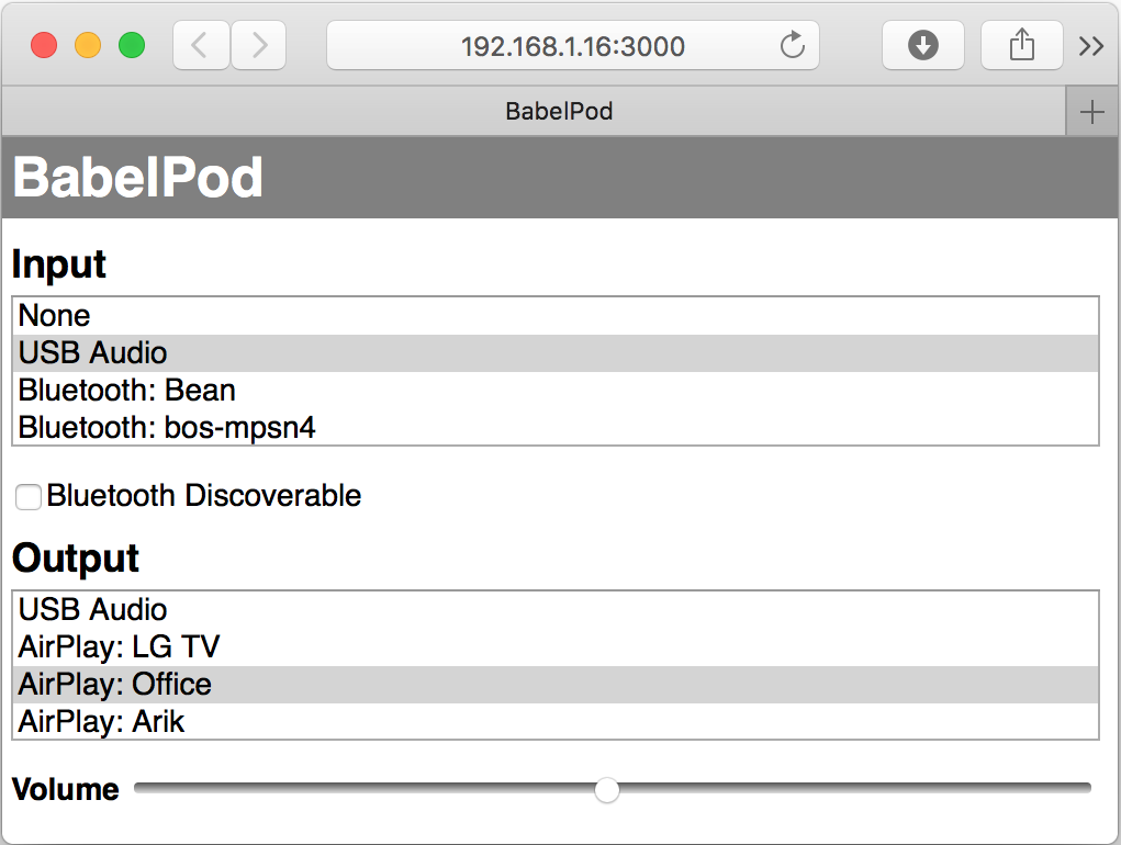 BabelPod web interface on Mac Safari